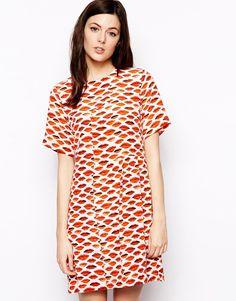 Peter Jensen Smock Dress in Lips Print