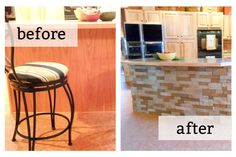 DIY stone island in your kitchen. This looks cool! Source: House Honeys