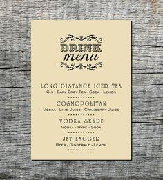 Industrial Drink Menu Card Custom - Wedding, Party, Celebration, Event - DIY Printable. via Etsy.