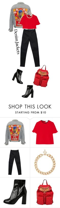 """""""Denim jacket II"""" by ginny-mckenzie ❤ liked on Polyvore featuring Victoria, Victoria Beckham, MOOD, StyleNanda, Moschino, red, denim, Boots, 2Pac and denimjackets"""