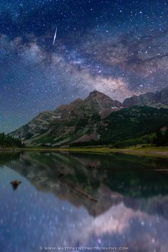 Maroon Bells Mountain, Perseid Meteor and the Milky Way, all reflected beautifully in Crater Lake near Aspen, Colorado