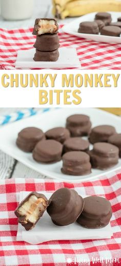 With chocolate, peanut butter, and banana, tasty Chunky Monkey Bites are a hit with kids. They're a perfect less-processed treat for a special treat or even an after-school snack. This recipe is gluten-free too! for kids Chunky Monkey Bites Lunch Snacks, Yummy Snacks, Yummy Food, Yummy Eats, Breakfast Snacks, Fruit Snacks, Dips Für Chips, Monkey Bite, Desserts Sains