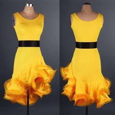 Yellow-Rumba-Latin-Salsa-Samba-Cha-cha-Ballroom-Dancewear-Evening-Dance-Dress