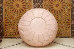 Light Pink Moroccan Pouf Leather Handmade by BerberPoufs on Etsy