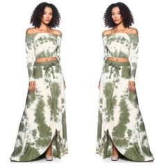 722a14aae05 New Sexy Boho Chic Olive Tie Dye Wrap Skirt And Crop Top Set Size Medium   FabulouslyDressedboutique  WrapDress  Clubwear