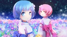 Re:Zero Rem and Ram Kid Flower Field Wallpaper