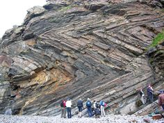Recumbent Chevron Folds  Millook Haven - Cornwell - UK. The history of deformation that has generated these spectacular folds is divided in two steps: 1) Compression 2) Tilting. Tilting could be related both to a late compression or extension.