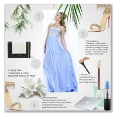 Strapless Floor-length Chiffon Prom Dress by johnnymuller on Polyvore featuring Christian Louboutin, CÉLINE, MAC Cosmetics and Dyson