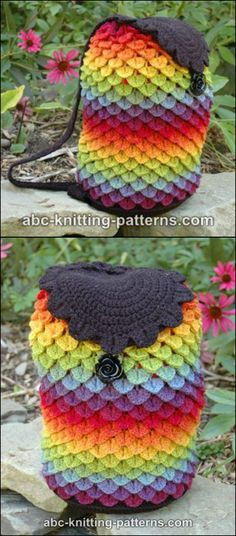 Crochet Purses 18 Crochet Backpack with Free Patterns---Crochet Rainbow Dragon Backpack with Free Pattern - These crochet backpack look great and make beautiful handmade gifts too! We've rounded up a fantastic collection of FREE Crochet Backpack Patterns. Crochet Backpack Pattern, Crochet Purse Patterns, Bag Patterns, Stitch Patterns, Knitting Patterns, Sewing Patterns, Crochet Crocodile Stitch, Crochet Shell Stitch, Crochet Handbags
