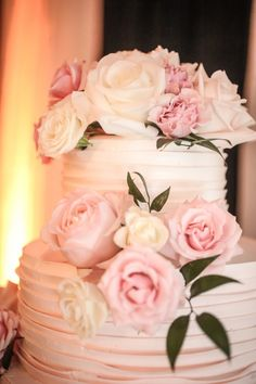 Buttercream Pink Rose Textured Round Wedding Cake   Northside Florist