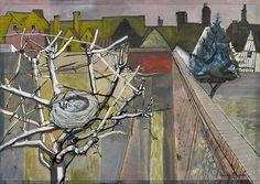 1948 The Artist's Garden in Winter watercolour & gouache Edward Bawden