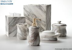 Alabaster White Shower and Bathroom Accessory Polished Marble Tumbler