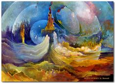 Silent Echos, a mystical landscape painting by Rassouli at Avatar Fine arts