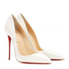 Christian Louboutin So Kate 120 Leather Pumps (4,105 CNY) ❤ liked on Polyvore featuring shoes, pumps, heels, sapatos, christian louboutin, white, white heel pumps, white shoes, leather pumps and white leather shoes