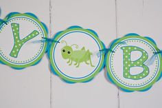 Bug Themed HAPPY BIRTHDAY Banner  - Going Buggy Birthday Party Decorations in Aqua Blue and Green