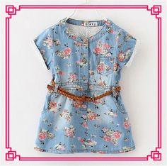2015 Girl Dress Cinderella Vintage Denim Floral Print Sleeveless Dresses Baby Dresses with Belt Princess Party Dresses Online with $12.2/Piece on Smartmart's Store | DHgate.com