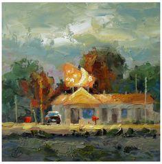 AMERICANA, RURAL MOTEL, TOM BROWN CONTEMPORARY LANDSCAPE -- Tom Brown