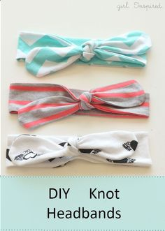 Tutorial for easy DIY knot headbands. Cute, simple look. I might want to make a couple of these for myself. :) Theres also a quick tutorial near the bottom of the post about making one of these out of a non-stretchy fabric, sewing part of headband to be more elastic-like.
