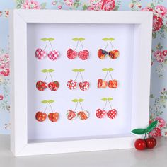 Creative DIY Shadow Box to Surprise Beloved Ones & Beautify Home Interior Cherry Baby, Mary Cherry, Cherry Cherry, Cherry Delight, Diy And Crafts, Arts And Crafts, Diy Shadow Box, Cherries Jubilee, Cherry Kitchen