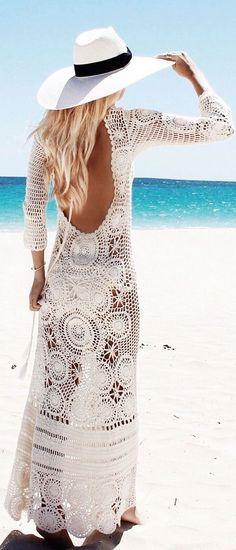 #street #fashion summer / white lace dress @wachabuy