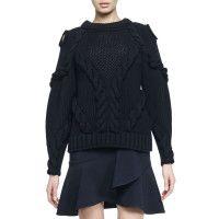Alexander McQueen Cutout-Shoulder Cable-Knit Sweater