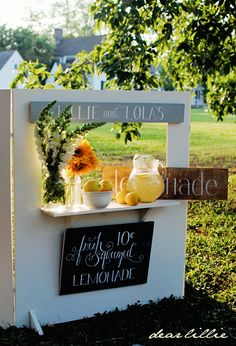 Dear Lillie: homemade lemonade stand and signs...would make a perfect puppet theater, too!