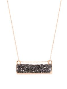 Druzy Bar Pendant Necklace from Spring Jewelry Shop: Natural Stones on Gilt Arrow Necklace, Gold Necklace, Pendant Necklace, Jewelry Shop, Natural Stones, Product Launch, Rose Gold, Bar, Detail