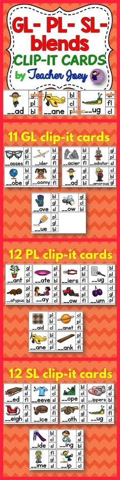 Blends Clip-it Cards #phonics #teacherspayteachers #backtoschool #blends