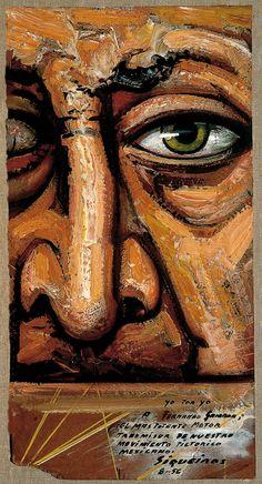 """""""A Fernando Gamboa el más potente motor transmisor de nuestro movimiento pictórico mexicano."""" Siqueiros, dedicatoria a Gamboa al reverso de la obra Yo por yo, 1956)."""