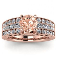 #14k #Rose #Gold #Khloe #Morganite #And #Diamond #Princess #Cut #Ring | Etsy #14k #morganite #ring #rose #gold #engagement #wedding #ring #engagement #ring #rose #gold #morganite #morganite #ring #morganite #engagement #Cushion #Shaped #Halo #Filigree #hand #Engraved #Band #Unique #Pave #Set #high #Profile #Gem #Princess #Cut Princess Cut Rings, Princess Cut Diamonds, Morganite Ring, Morganite Engagement, Ring Engagement, Meteorite Ring, Vintage Style Engagement Rings, 18k Rose Gold, Wedding Ring Bands