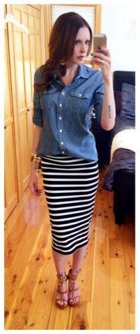 Summer to Fall outfit, denim J.Crew shirt, black and white striped pencil skirt, Michael Kors heels Trend Fashion, Work Fashion, Modest Fashion, Autumn Fashion, Fashion Outfits, Striped Skirt Outfit, Pencil Skirt Outfits, Stripe Skirt, Pencil Skirts