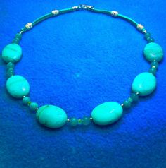 RARE CHRYSOPRASE Mint Colored Gems Rare Sizes 18x24mm Rare Gem Necklace + PERIDOT Gems +Double Leather Back+ By Native American+ Free Ship by TjeansJewelry on Etsy