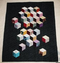 tumbling block quilts | Tumbling Blocks...started out as a big quilt, but took so much time ...
