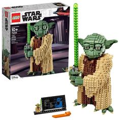 From LEGO comes a 16-inch tall loveable version of Jedi Master Yoda, which your kids will enjoy playing at any time. The buildable toy has posable eyebrows and head, along with adjustable toes and fingers parts. Plus, with Mater Yoda's signature green lightsaber, your kids will treasure this LEGO character all the way. Improve their creative abilities by helping them build interlocking plastic brinks and bring the character to life. The set comes with a small display model, including a fact… Star Wars Diorama, Lego Star Wars, Star Wars Yoda, Star Trek, Star Wars Video, Film Star Wars, Lego Mindstorms, Lego Disney, Disney Stars