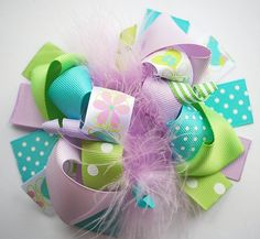 boutique FUNKY fun SWEET SPRING hair bow clip by andjane on Etsy, $12.99