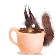 "Wiebke Rauers, a freelance illustrator from Düsseldorf. ""…okay, but first coffee"" But First Coffee, Coffee Love, Coffee Coffee, Cute Illustration, Digital Illustration, Squirrel Illustration, Squirrel Art, Freelance Illustrator, Whimsical Art"