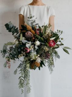 crazy wild bouquet with lot& of greenery and king protea. Great bouquet for. Bridal Flowers , crazy wild bouquet with lot& of greenery and king protea. Great bouquet for. crazy wild bouquet with lot& of greenery and king protea. Bridal Flowers, Flower Bouquet Wedding, Floral Wedding, Protea Bouquet, Boquette Wedding, Protea Wedding, Boho Wedding Flowers, Perfect Wedding, Burgundy Wedding