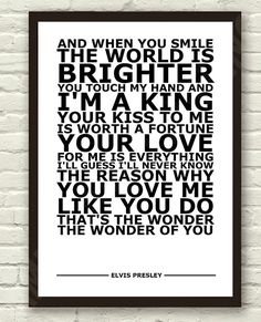 Elvis Presley The Wonder Of You White Lyric by TheRealPopArt