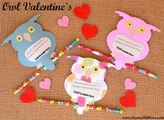 Owl Valentine's using a Cricut from Bear Rabbit Bear Crafts