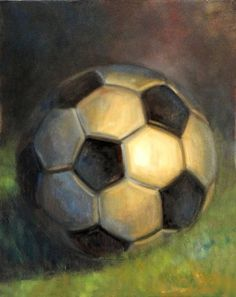 Soccer ball 30 x24 Oil on canvas, painting by artist Hall Groat II