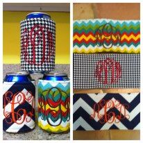 """Cutest gift ideas!!! Monogrammed wrap koozies! """"LIKE"""" Busy B.E.E. Embroidery on Facebook!"""