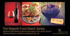 Roast Pork with Matariki Reserve 2009 Merlot Cabernet Sauvignon Pork Leg, Cabernet Sauvignon, Jamie Oliver, Pork Roast, Coriander, Wines, Herbs, Food, Eten