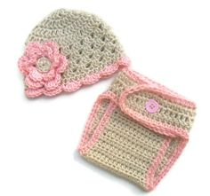 Infant/Baby Girls Crochet Beanie Hat and Diaper Cover by Karenisa, $37.00