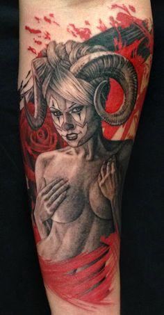 Pepper - Girl with Ram Horns Tattoo