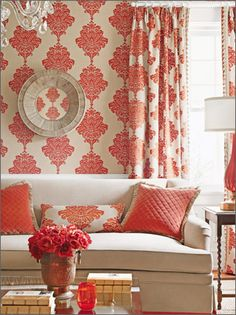 Wallpaper which has coordinating fabric is such a plus --- as this living room shows!  This is a Thibaut wallcovering and fabric.  They are known for beautiful products!