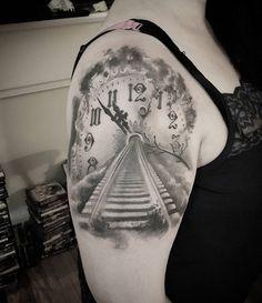 Clock train track tattoo - 100 Awesome Watch Tattoo Designs