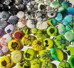 A spring batch of fused glass pendants- Art Salad 2013