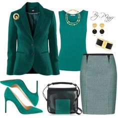 A fashion look from September 2014 featuring Chicnova Fashion blazers, Oasis vests and Manolo Blahnik pumps. Browse and shop related looks.