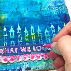 Handling those silly and critical voices in my head as I'm playing in my cardboard art journal with StencilGirl stencils and Faber Castell Pitt Pens. Video tutorial by Carolyn Dube #artjournaling