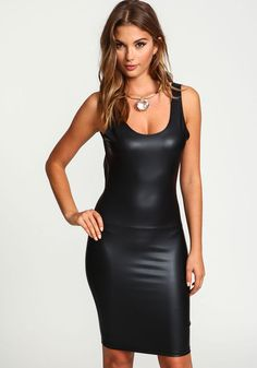 Scoopback Leatherette Bodycon DressScoopback Leatherette Bodycon Dress, BLACK